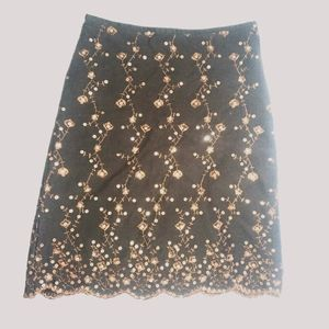 RW&CO brown embroidered with sequins skirt